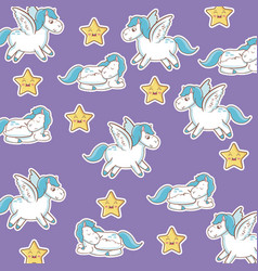 Unicorn with wings star kawaii seamless pattern vector