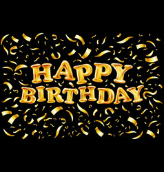 upper case letters happy birthday from gold vector image