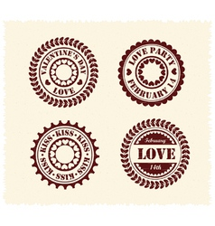 Valentine day vintage stamps vector