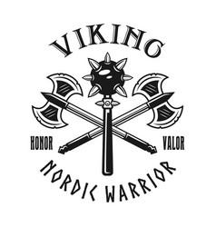 vikings weapons emblem label badge logo vector image