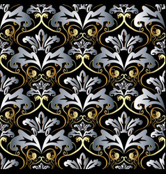 vintage gold silver 3d baroque seamless pattern vector image