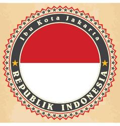 vintage label cards indonesia flag vector image