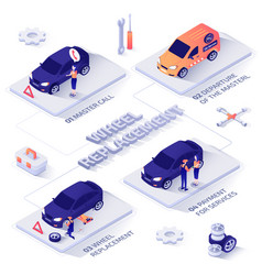 wheel replacement service isometric banner vector image