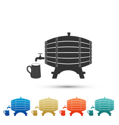 wooden barrel on rack and wooden beer mug icon vector image