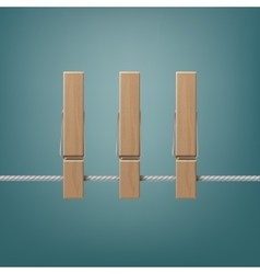Wooden Clothespins Pegs on Rope Side View Close up vector image