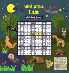 Word search puzzle nocturnal animals vector