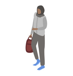 young muslim woman icon isometric style vector image