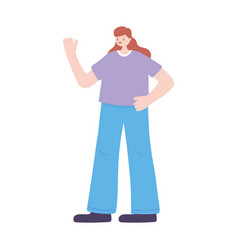 young woman character female standing isolated vector image