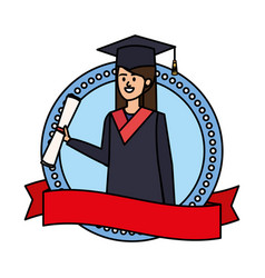 Young woman student graduated in emblem vector