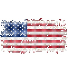 American grunge tile flag vector image vector image