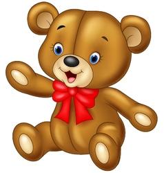 Cute cartoon teddy bear waving vector image vector image
