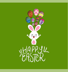 Easter card with bunny and egg fly vector