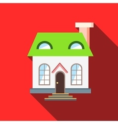 Green roof house icon flat style vector image vector image