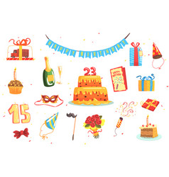 happy birthday party set of isolated cute cartoon vector image