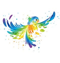 splash colorful fantasy bird vector image vector image