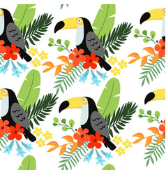 tropical jungle seamless pattern with toucan bird vector image