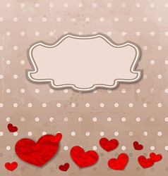 Vintage card with set crumpled paper hearts vector image vector image