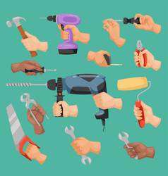 human worker hands holding construction repair vector image