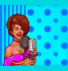 pop art of a black woman sings vector image