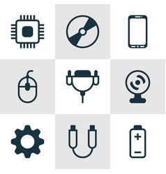 set of 9 computer hardware icons includes chip vector image vector image