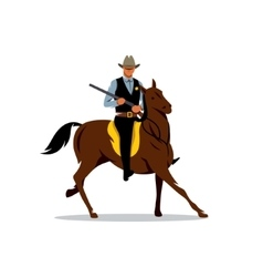 Sheriff with Gun and the Horse Cartoon vector image