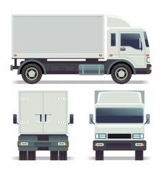Small truck front back and side view for cargo vector image vector image