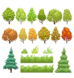 Trees and grass flat icons set vector image
