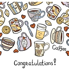 Congratulation card with doodle tea accessories on vector image