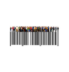 crowd of businesspeople on the bar code vector image vector image