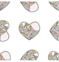hearts seamless pattern hand drawn vector image vector image