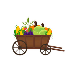 vegetables in a wooden cart background vector image