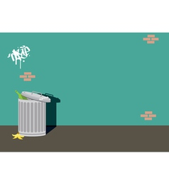 Alley can trash background wall vector image
