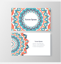 Business card with mandala floral pattern vector image