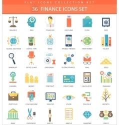 Finance color flat icon set Elegant style vector image