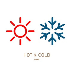 Hot and cold sun and snowflake icons vector image