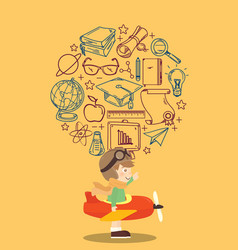kid playing toy airplane with education icon vector image vector image