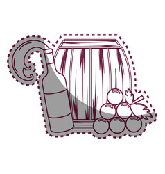 sticker line bottle splashing wine barrel and vector image vector image