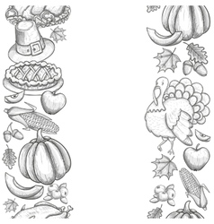 Vertical seamless borders with Thanksgiving icons vector image