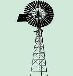 windpump silhouette vector image vector image