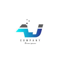 Aj a j alphabet letter logo combination in blue vector