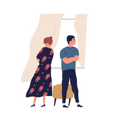Annoyed couple standing back to back with crossed vector