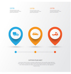 Automobile icons set collection lorry car vector