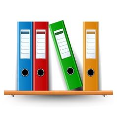Binder set on wood shelf vector image