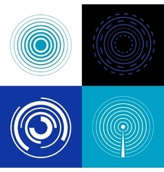 Blue circle signal waves Generate sound or radar vector