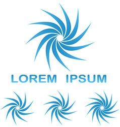 Blue swirling logo design set vector
