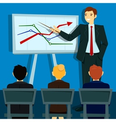 Business Presentation Businessman Shows Statistics vector