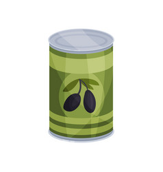 canned olives tinned food in aluminum can cartoon vector image