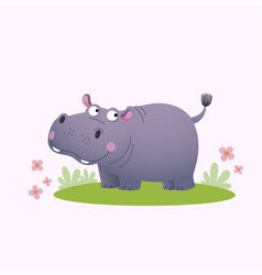 cartoon hippopotamus on green grass vector image