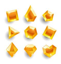 cartoon orange different shapes crystals vector image