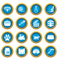 Cat care tools icons blue circle set vector